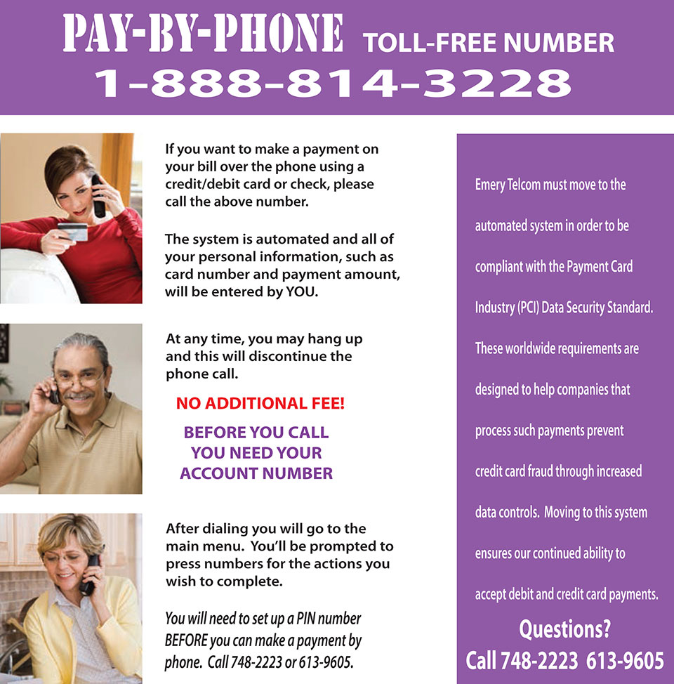 Pay Your Emery Telcom Bill by Phone